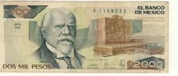 BILLET # MEXIQUE # 2000 PESOS # DOS MIL  PESOS # 1989  #  JUSTO SIERRA - Mexique
