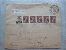 Belle Lettre Belgique 1937 Avec Bande Et TP En Tête Bèche.En Recomandé Bruxelles Pour Angres.Pas De Calais - Lettres & Documents