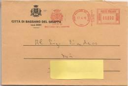 Bassano Del Grappa (Vicenza) 1998 - Tematica Comuni D´Italia - Busta Intestata + Annullo Meccanico Rosso - 1946-.. Republiek