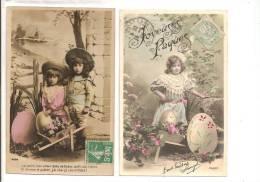 JOYEUSES PAQUES - Lot De 2 Cartes -  Enfants Ayant Fait La Récolte D'oeufs Dans Une Brouette Fleurie - Pâques