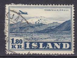 Iceland 1952 Mi. 278      1.80 Kr Airmail Flugzeuge über Landschaft Snaefjellsjökull - Usati
