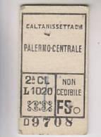 Biglietto Ferroviario Caltanissetta Palermo 2a Classe Marzotto 4.9.1952 - Treni