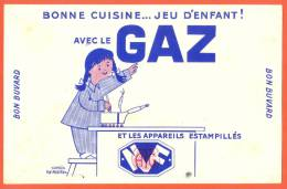 """Buvard  """"  Bonne Cuisine Avec Le Gaz   """" - Gas, Garage, Oil"""