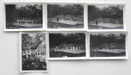 Lot De 6 Photos Theatre En Plein Air Nature Au Pays Basque - Circa 1940-50 Danses Folklore Taureaux Fête Spectacle - Places
