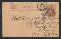 India  1902 KE  1/4A Post Card To Candy Ceylon # 42980 - India (...-1947)