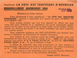 """Réf : D-13-1152 : Carte De Réabonnement Revue """"la Cote Des Tracteurs D'occasion"""" 1958 - Tracteurs"""