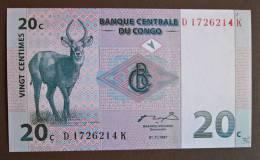 Banknote Papermoney REPUBLIQUE DEMOCRATIQUE DU CONGO 20 CENTIMES - Ohne Zuordnung