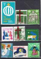 Stamps Label  9 LUTHERAN Hour , Christmas 1947-73 ** - Variedades, Errores & Curiosidades