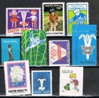 10 Stamps Label  EASTER SEALS 1959-92 , Children ** - Variedades, Errores & Curiosidades