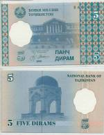 TAJIKISTAN 1999 5 DIRAM P11 UNC -G - Tadzjikistan