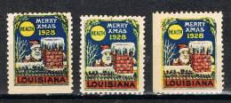 3 Stamps Label  Merry Christmas 1928. LOUISIANA. Estados Unidos. USA ** - Variedades, Errores & Curiosidades