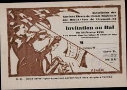 INVITATION AU BA- _ ASSOCIATION DES ANCIENS ELEVES DE L´ECOLE REGIONALE DES BEAUX ARTS DE CLERMONT FERRAND - 1928 - Programs