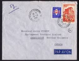 1955  Lettre Avion Pour Le Canada Tarif Frontalier  Yv 313B, 408   RARE De Monaco - Monaco