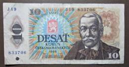 Banknote Papermoney Tschechoslowakei Gebraucht 1986 10 Korun - Tchécoslovaquie