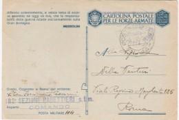 1943 Cart.Postale Forze Armate In Franchigia Con Motto Mussolini - Weltkrieg 1939-45