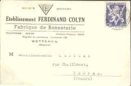 """WETTEREN - Carte Publicitaire De La SA """"Etablissement FERDINAND COLYN"""" - Fabrique De Binneterie - Belgique"""