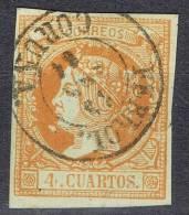 Sello 4 Cuartos Isabel II 1860, Fechador FERROL (Coruña), Variedad, Num 52 º - 1850-68 Reino: Isabel II