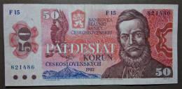 Banknote Papermoney Tschechoslowakei Gebraucht 1987 50 Korun - Tchécoslovaquie