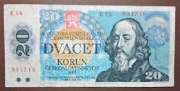Banknote Papermoney Tschechoslowakei Gebraucht 1988 20 Korun - Czechoslovakia
