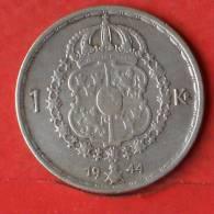 SWEDEN  1  KRONA  1944  SILVER COIN KM# 814  -    (1644) - Suecia