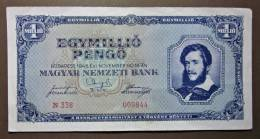Banknote Papermoney Ungarn Magyar Gebraucht 1 Million Pengö 1945 Gebr. - Hungary