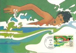 U.S.A. :1983: Y. PA97 On Maxicard : OLYMPICS,LOS ANGELES 1984, SWIMMING,NATATION,SCHWIMMEN,ZWEMMEN, - Natation