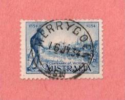 """AUS SC #143  1934 Centenary Of Victoria  W/SON (""""MERRYGOEN NSW / 16 JL 34"""")  W/perf Flts @ TL, CV $6.50 (I) - 1913-36 George V : Other Issues"""