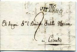 Departement Conquis Le Tibre - 116 VITERBO De 1813 - Lettre Precurseur De Toscanella - Poststempel (Briefe)
