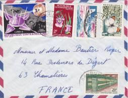 MARCOPHILIE CENTRAFRICAINE, Lettre 1969, BANGUI Pour FRANCE, Yv PAPILLON FLEUR AVION ESPACE /3912 - Zentralafrik. Republik