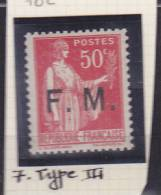 FRANCE N° 7 50C ROSE ROUGE TYPE PAIX  TYPE III NEUF SANS CHARNIERE - Franchise Militaire (timbres)