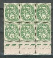 France -  Type Blanc - Bloc De 6 Valeurs Bas De Feuille - 5 C. Vert  IIA - Y&T 111 ** Luxe Neuf  ( Gomme D´origine ) - 1900-29 Blanc
