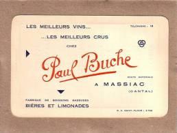 CANTAL - CARTE DE VISITE - MASSIAC - BIERES ET LIMONADES - PAUL BUCHE - 140 X 90 Mm - Visiting Cards