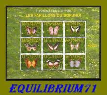 BL154** (1174/1182) Papillons/Vlinders - BURUNDI - 2000-09: Mint/hinged