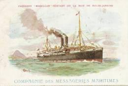 """Rio Paquebot """" Magellan """" Artist Made Messagerie Maritime MM Ship Cancel No 3 Semeuse - Rio De Janeiro"""