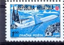 HR 1991-179A DEFINITIVE, CROATIA HRVATSKA, 1v, MNH - Flugzeuge