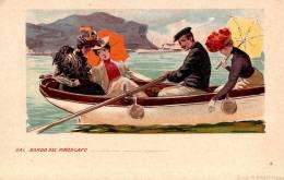 ART NOUVEAU : NAVIGAZIONE GENERALE ITALIANA - DAL BORDO DEL PIROSCAFO - ILLUSTRATION LITHOGRAPHIÉE [E.M.] ~ 1900 (n-805) - Künstlerkarten