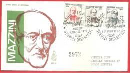 ITALIA REPUBBLICA FDC VENETIA - 1972 - Centenario Morte Di Giuseppe Mazzini - ANN. PISA DEDICATO - ANN. ARRIVO VENEZIA - 1946-.. Republiek