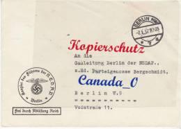B  4  --   Kanzelei D.Führers S.NSDAP Barlin N. Gauleitung Berlin D.NSDAP  67.1.1937 - Unclassified