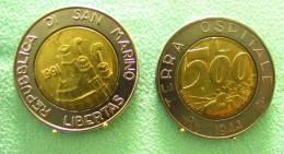 SAINT MARIN SAN MARINO BIMETAL 500 LIRE RARE 1991 - Saint-Marin
