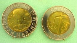 SAINT MARIN SAN MARINO BIMETAL 500 LIRE RARE 1998 CHIMICA - Saint-Marin