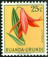 RUANDA URUNDI, 1953, FLORA, FIORI, FLOWERS, LITTONIA, FRANCOBOLLO NUOVO (MLH*), Scott 117, YT 180, Bel 180 - Ruanda