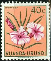 RUANDA URUNDI, 1953, FLORA, FIORI, FLOWERS, IPOMEA, FRANCOBOLLO NUOVO (MLH*), Scott 118, YT 181, Bel 181 - Ruanda