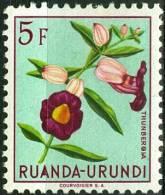 RUANDA URUNDI, 1953, FLORA, FIORI, FLOWERS, THUNBERGIAS, FRANCOBOLLO NUOVO (MLH*), Scott 128, YT 191, Bel 191 - Ruanda