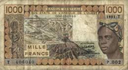 AFRIQUE / AFRICA / TOGO - WEST AFRICAN STATES- 1000 FRANCS 1981 / LETTRE T - Togo