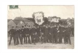 """CPA : 71 - Saône Et Loire : Cluny : Gadzarts ( 21 Juin 1908 ) Bande Du Berry : Jeunes Gens En Uniforme, """" étendard"""",... - Cluny"""