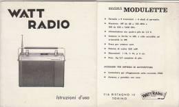C0955 - ISTRUZIONI E SCHEMA RADIO MINI MODULETTE WATT RADIO Anni '60 - Apparatus