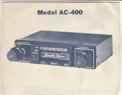 C0956 - ISTRUZIONI E SCHEMA AUTO RADIO CAR STEREO CASSETTE TAPE PLAYER Model AC-400 - Apparatus