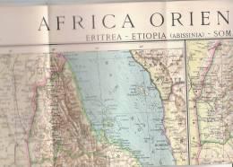 C0973 - CARTINA - CARTA DELL'AFRICA ORIENTALE Touring Club Anni '30/ERITREA - ETIOPIA ABISSINIA - SOMALIA - Carte Geographique