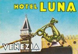 ITALY VENEZIA HOTEL LUNA VINTAGE LUGGAGE LABEL - Hotel Labels