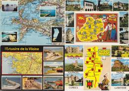 Lot De 16 Cartes Géographiques - 14 France - 1 Danemark - 1 Grande Bretagne - Toutes Scannées - - Cartes Postales